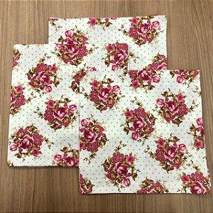 Guardanapo Branco Poa Bege Floral Pink