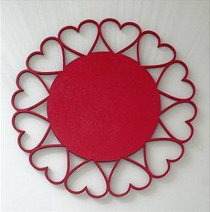 Sousplat coração vermelho