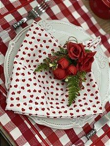 Guardanapo Branco Coração Vermelho