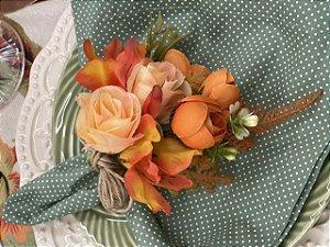 Porta Guardanapo Bouquet Laranja Luxo