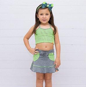 Short-saia  Vivi Mescla Bolso Verde