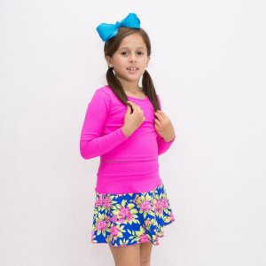 Short-saia Rodado pink e azul Flores