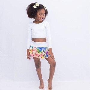 Short-saia rodado super colorido