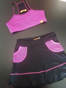 Short-saia Vivi Preto e Pink