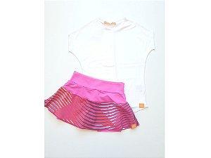 Short-saia rodado rosa estrela