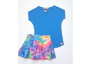 Combo Short-saia tie dye caracol e blusa dryfit