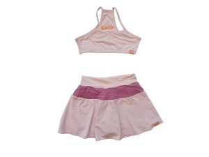 Combo Short-saia e top rosa bebê