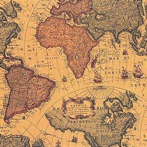 Papel Contact Estampado Mapa Antigo