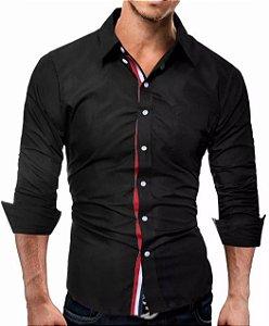 Camisa Slim Fit Masculina Preta