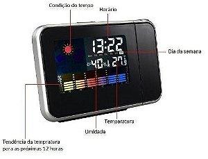 Alarme Relógio Led Multi-funções Projetor E Clima