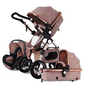 Carrinho de Bebê 3 em 1 Moisés Passeio com Bebê Conforto