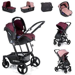 Carrinho de Bebê 3 em 1 Quantum 3 Top Be Cool Vinho e Rosa