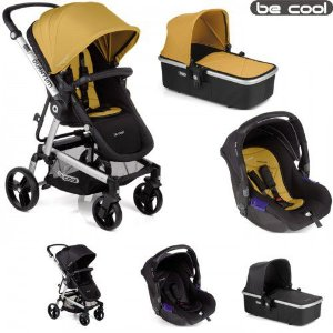 Carrinho de Bebê 3 em 1 Quantum 3 Top Be Cool Mostarda e Preto
