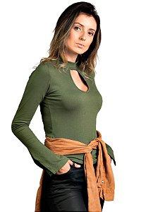 Blusa Gola Fenda Verde Militar