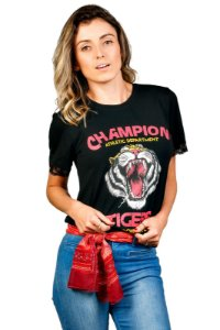 Camiseta Renda Mangas Tigre Preta