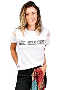 Camiseta Tule Bad Girls Gang Branca