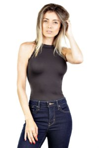 Body Recorte Costas Suede Preto