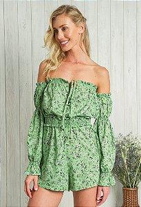 Macaquinho Ciganinha Floral Liberty Verde