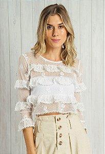 Blusa Cropped em Tule Poá Floral Branca