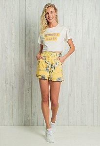 Short Cintura Alta Floral Amarelo
