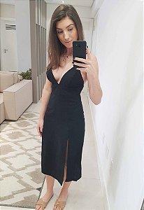 Vestido Midi Linho Fendas Preto