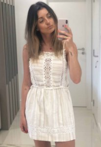 Vestido de Alça Gaze Branca