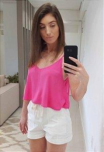 Blusa de Alça Cropped Ampla Pink