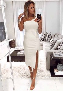 Vestido Um Ombro Midi Branco