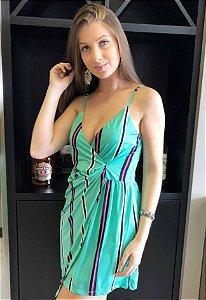 Vestido Listras Verde