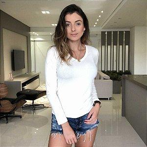Blusa Canelada Decote V Off White