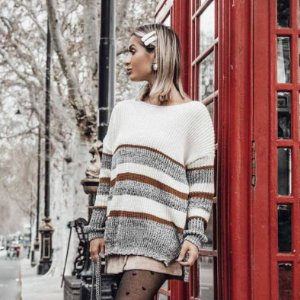 Suéter de Tricot Listrado