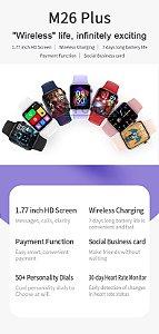 Smartwatch M26 Plus Aluminum, relógio inteligente, chamadas, redes sociais, sáude, esportes, indução , 1,77 pol Pronto Entrega.