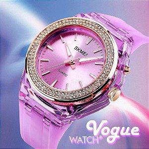 Relogio Skmei Lady Fashion Vogue Prova Agua Led Backlight Rhinestone Embutidos Transparente