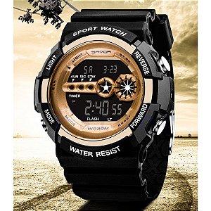 Relógio Quartzo Eletrônico Samda Moda Masculino Aço Inoxidável LED Digital Data de Alarme Pronto Entrega