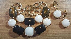 Colar e Brincos de Cristal de Ágata preto, Madrepérola e Olho de Tigre Mega Maxi Classic