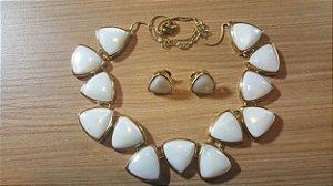 Colar e Brincos Madre Pérola Triangular Classic