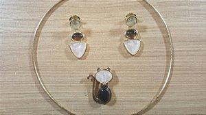 Colar e Brincos Obsidiana Vulcânica fumê, Cristal de Quartzo rosa e outras pedras Gato Classic