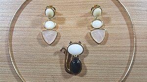 Colar e brincos Madre Pérola, Cristal de Ágata preto, outras pedras Gato Classic