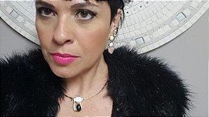 Colar Gargantilha Choker e Brincos Quartzo Rosa, Amazonita Bege, Madrepérola e Ágata preta, Conjunto Gato Classic