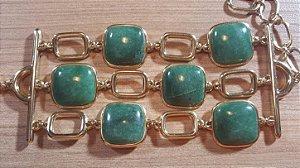Pulseira Cristal de Quartzo verde Tripla Quadrados Amazon