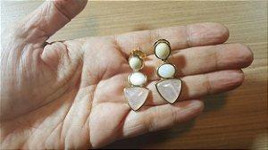 Brincos Amazonita bege, Madrepérola e Cristal de Quartzo rosa 3/4,1cm Princess Classic