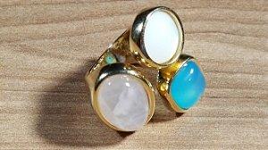 Anel Cristal de Ágata azul céu, Cristal de Quartzo rosa e Madrepérola Max Flex Happy Days