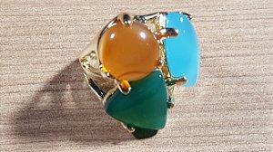 Anel Cristal de Ágata azul céu, verde e mel Maxi Trio Happy Days
