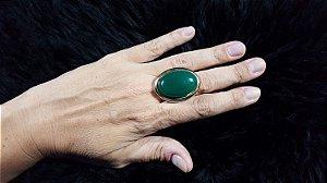 Anel Cristal de Ágata verde Oval Mega Maxi Scandal