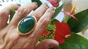 Anel Pedra Ágata Verde Oval Mega Maxi Scandal