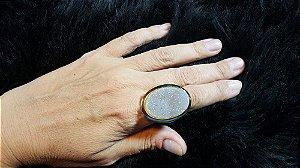 Anel Pedra Quartzo Geodo ou Drusa Mega Maxi Oval Exclusivo 2