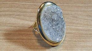 Anel Pedra Quartzo Geodo ou Drusa Mega Maxi Oval Exclusivo 4