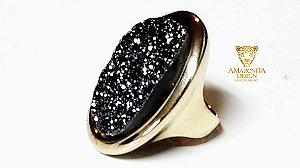 Anel Pedra Quartzo Geodo ou Drusa com Titânio Mega Maxi Oval Exclusivo 1