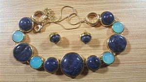 Conjunto Colar e Brincos Sodalita e Cristal de Ágata azul céu Magna Amazon