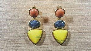 Brincos Sodalita Azul Mar, Howlita laranja e amarela, Princess 3/4,1cm Amazon